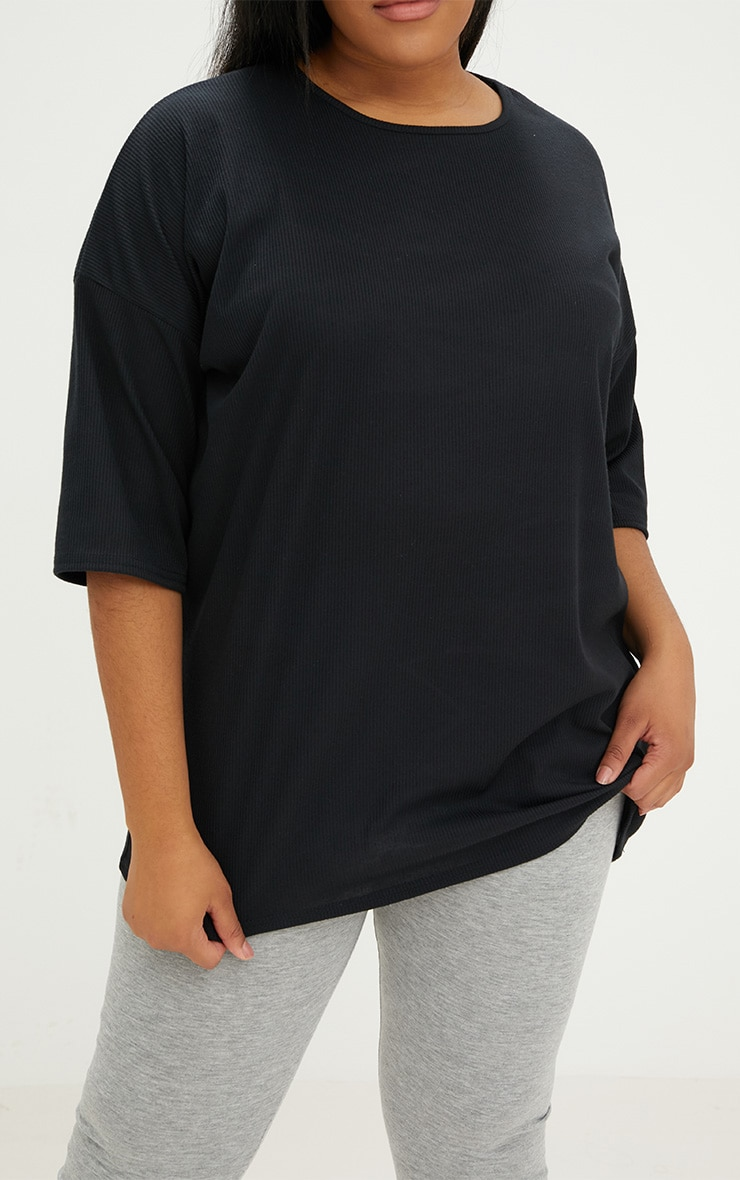 Plus Black Ribbed Oversized Tee 5