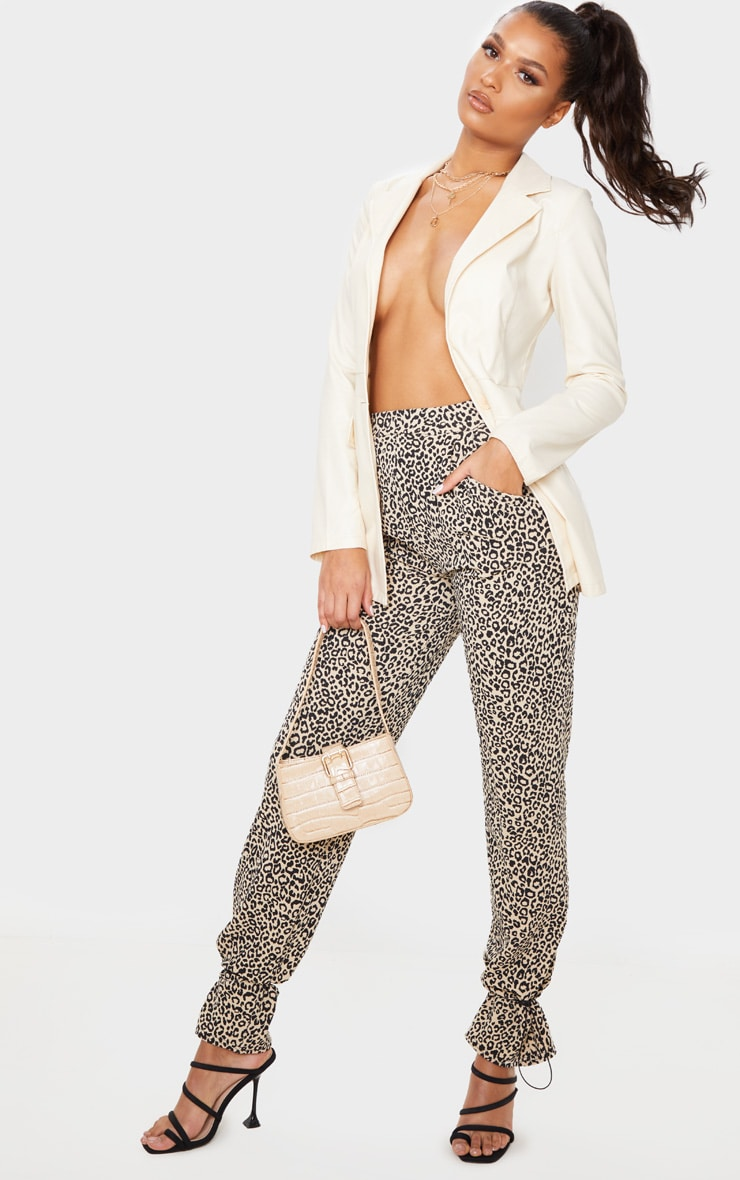 Leopard Crepe Toggle Hem Trousers 1