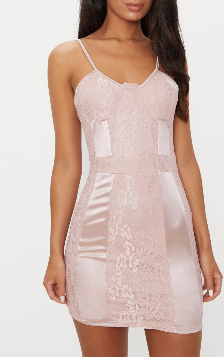 Dusty Pink Lace Strappy Satin Panel Bodycon Dress 5
