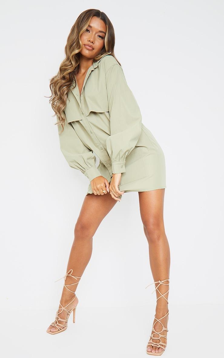 Khaki Woven Overlay Pocket Detail Shirt Dress 3