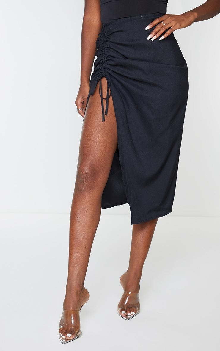 Black Woven Ruched Detail Midi Skirt 2