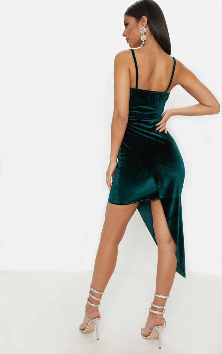 Emerald Green Velvet Draped Midi Dress 2