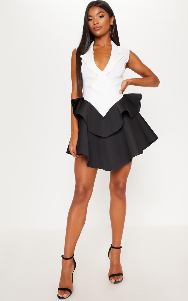Monochrome Bonded Scuba Frill Hem Waistcoat Dress 4