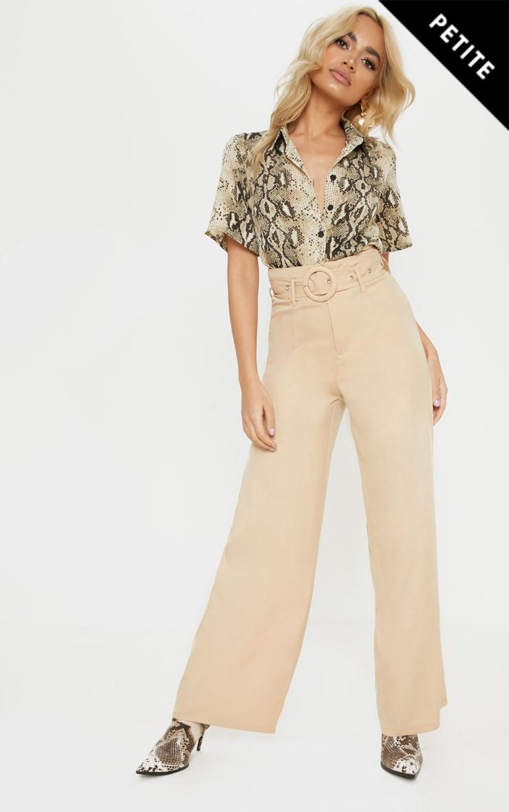 Petite Camel High Waist Ring Belt Wide Leg Pants 1