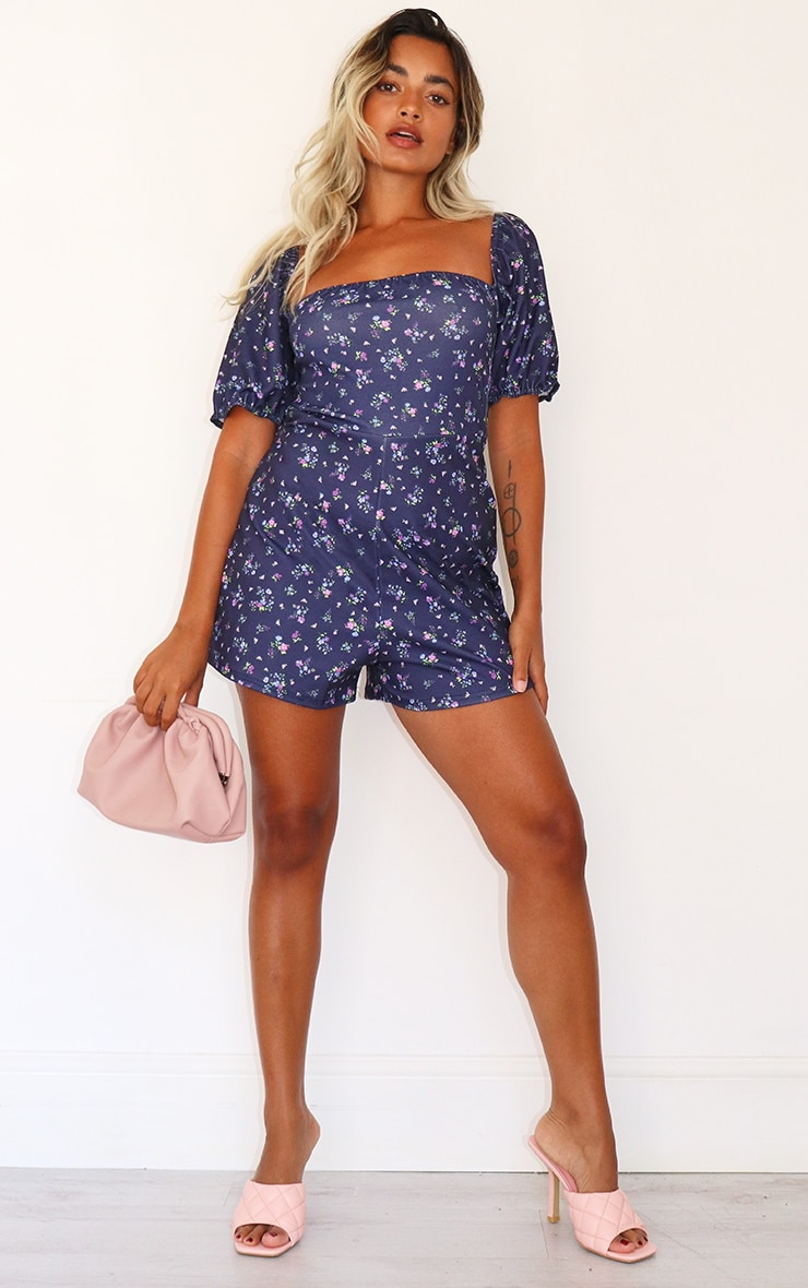 Petite Purple Ditsy Puff Sleeve Playsuit 3