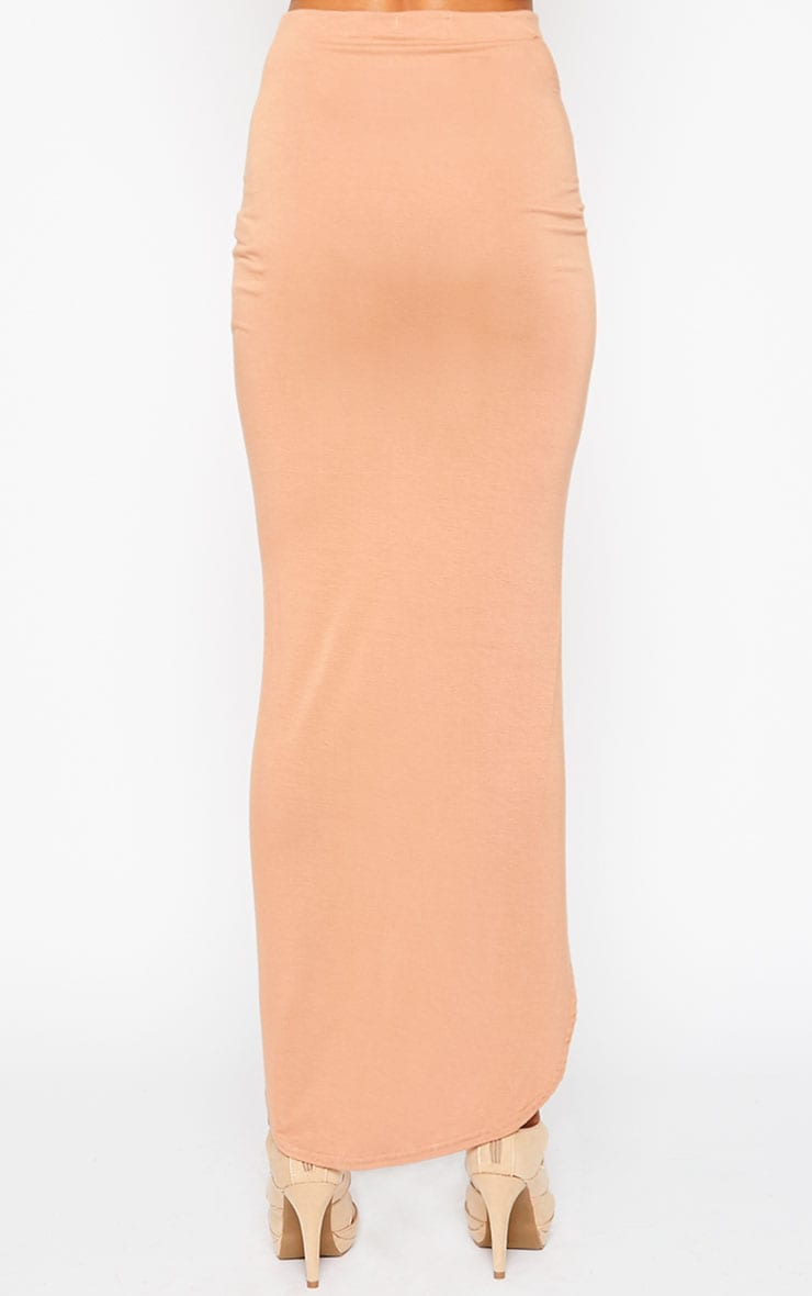 Omari Camel Ruched Front Jersey Maxi Skirt 4