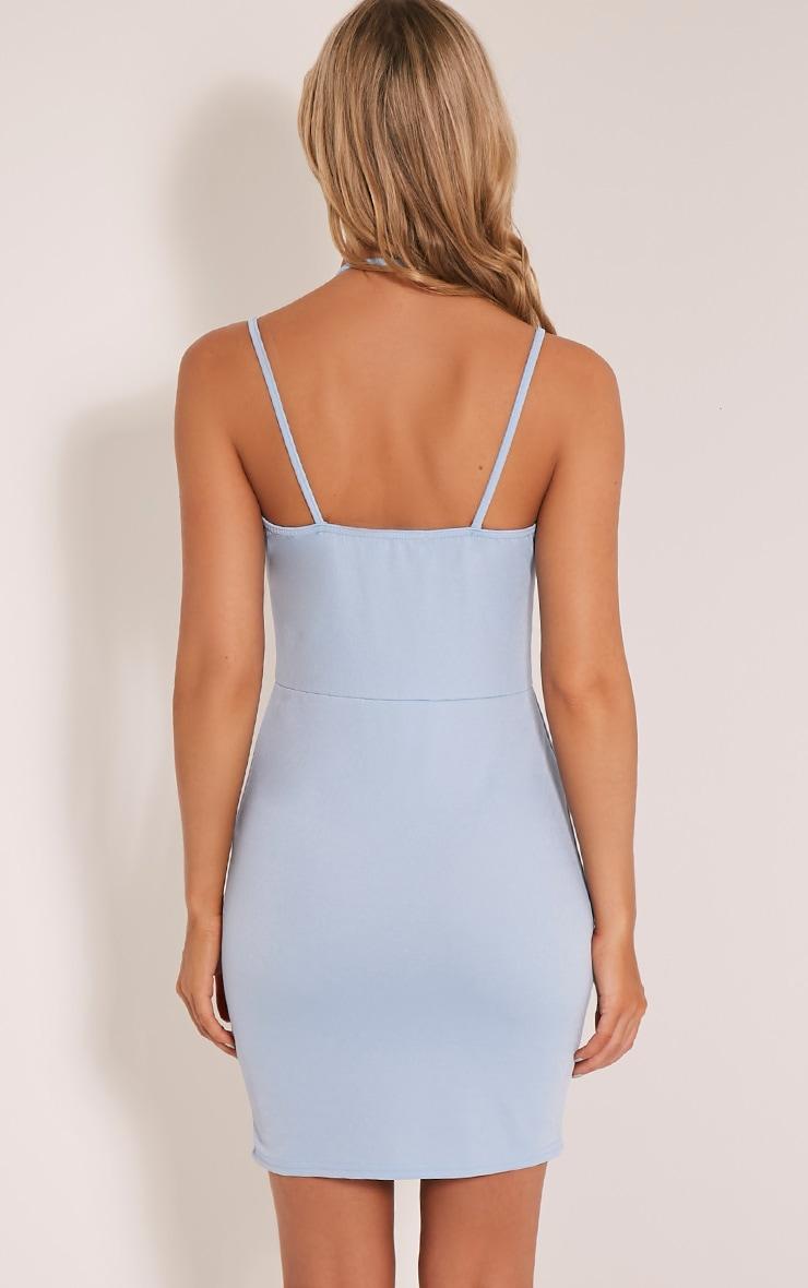 Aimee Dusty Blue Strap Detail Plunge Bodycon Dress 2