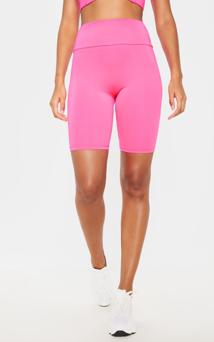 Hot Pink High Waisted Gym Cycle Shorts 2