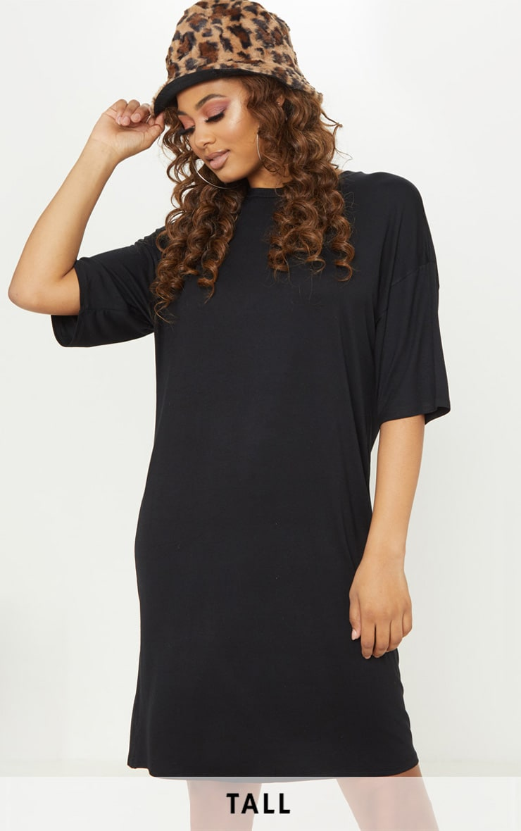 Tall Black Oversized T-shirt Dress 1