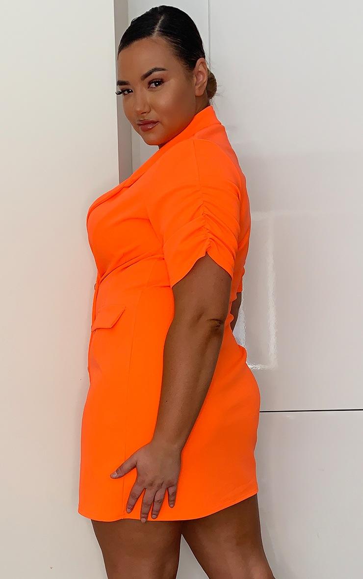 Plus Neon Orange Button Front Ruched Sleeve Blazer Dress 2