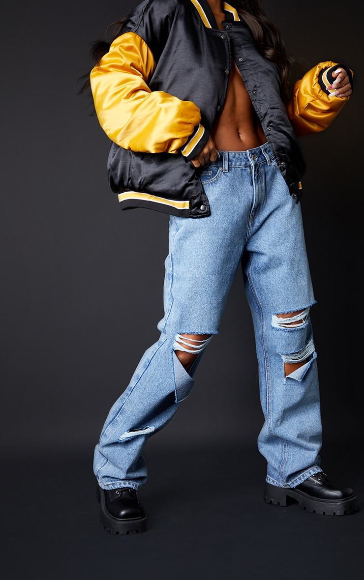 Mid Wash Baggy Low Rise Ripped Boyfriend Jeans 2
