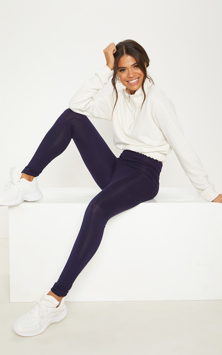 Navy High Waisted Jersey Legging