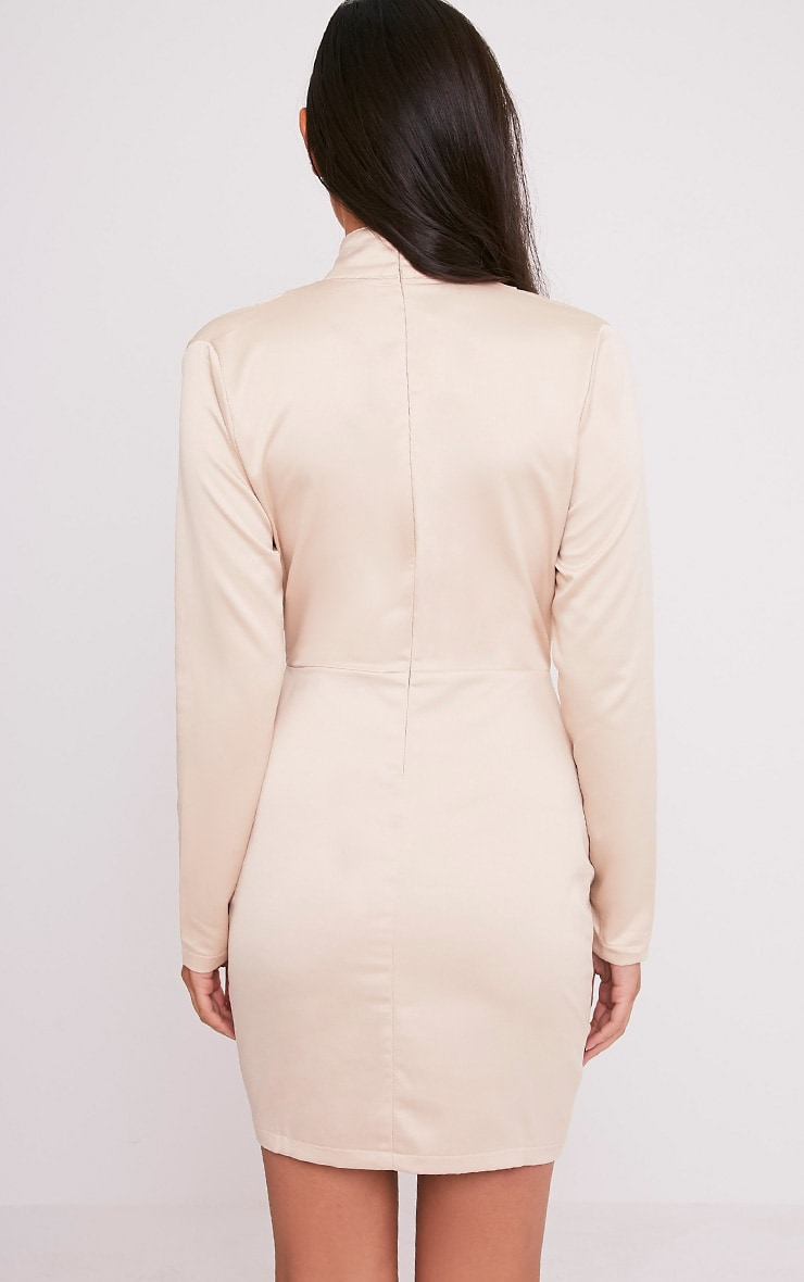 Chrissie Champagne Lace Up Satin Bodycon Dress 2