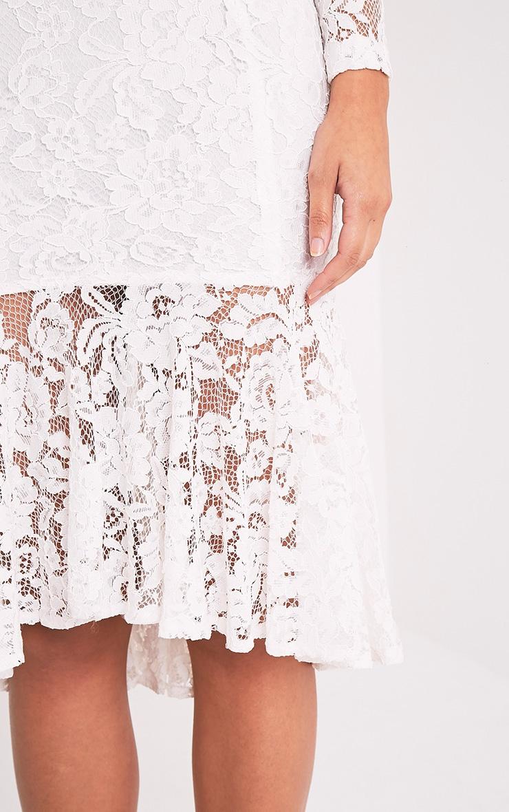 Ellina Premium robe sirène midi en dentelle blanche 4