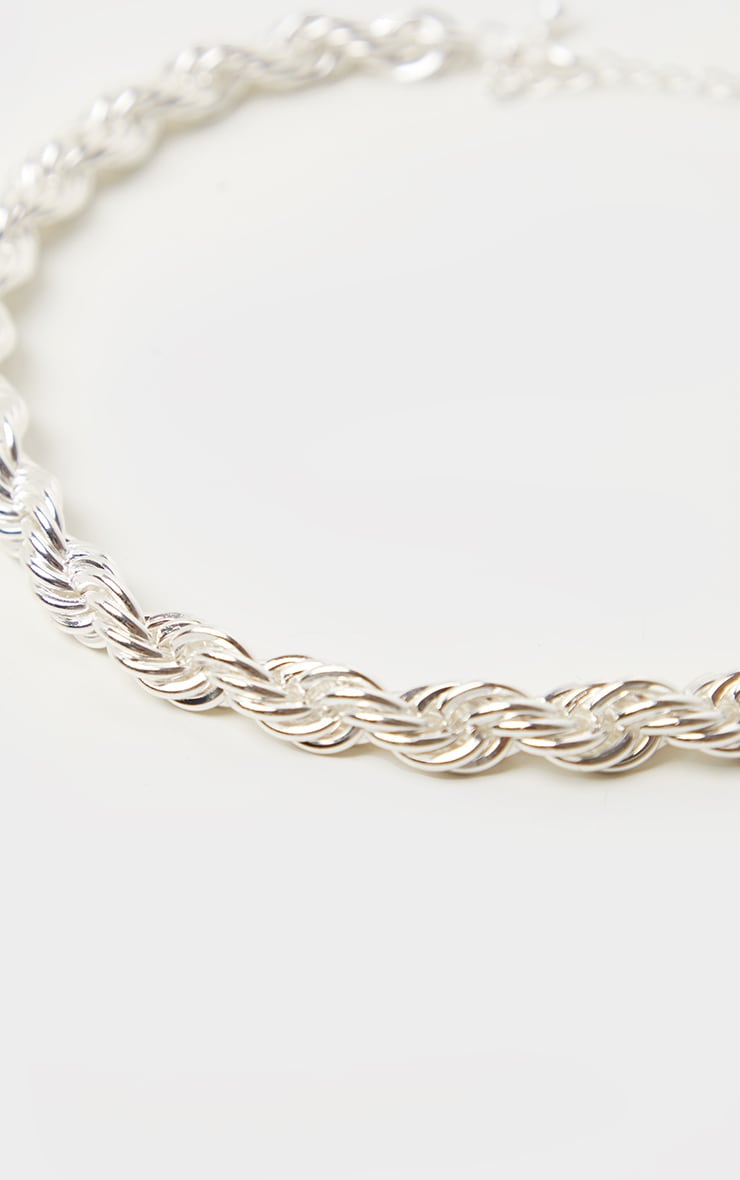 Silver Twisted Rope Necklace 4