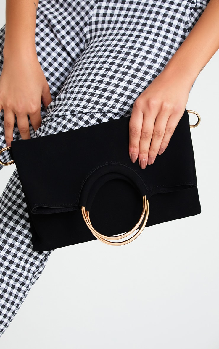 Black Ring Detail Fold Over Clutch 1