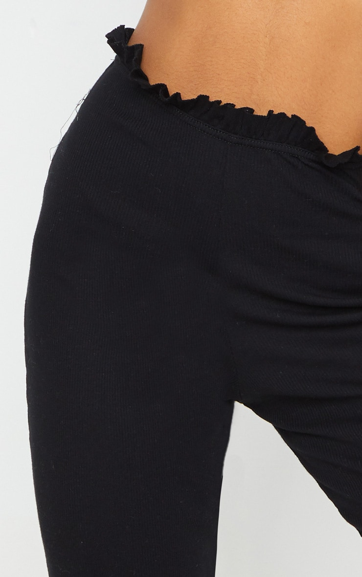 Black Rib Wide Leg Frill Detail Pants 4