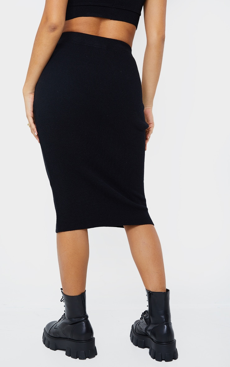 Black All Over Ribbed Knitted Midi Skirt 3