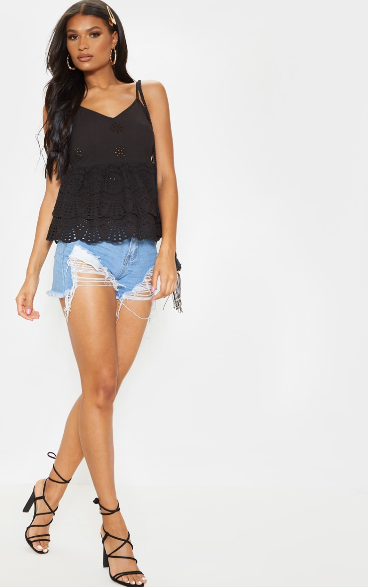 Black Broderie Anglaise Frill Hem Cami Top 4