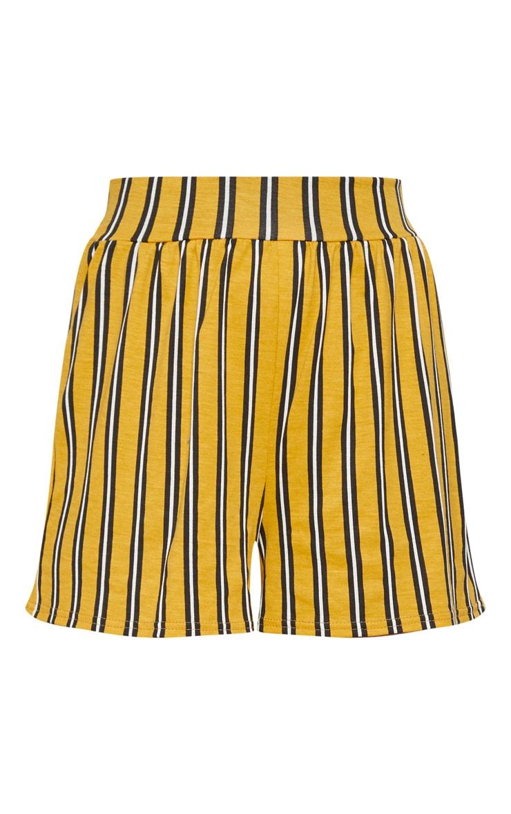 Petite Mustard Striped Shorts 3
