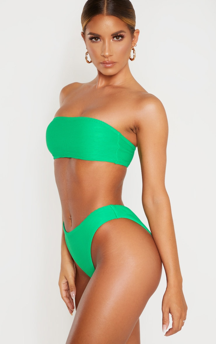 Green Ribbed V Front Bikini Bottom 2