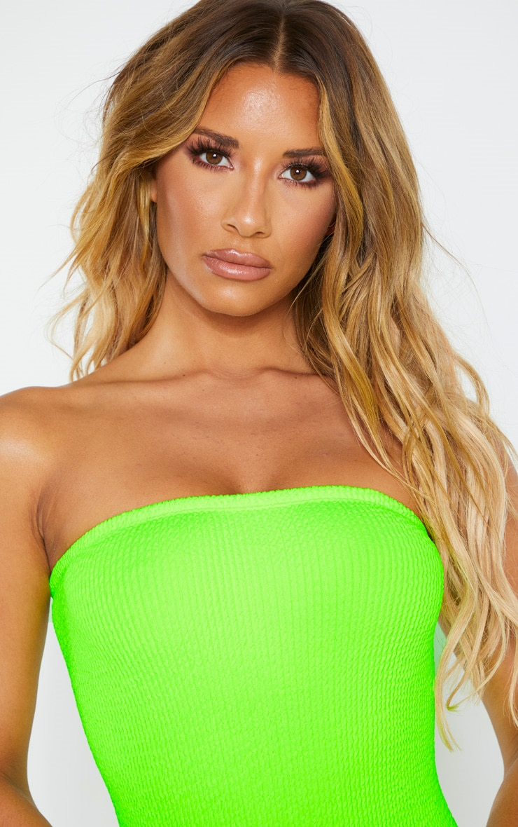 Neon Lime Crinkle Strapless Swimsuit 5