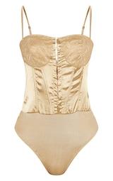 8303556238 Champagne Lace Detail Satin Bodysuit image 3