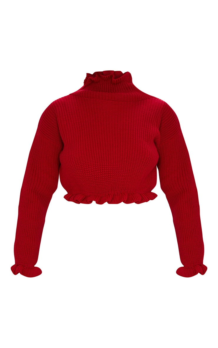 Red Knit High Neck Ruffle Trim Crop Jumper 3
