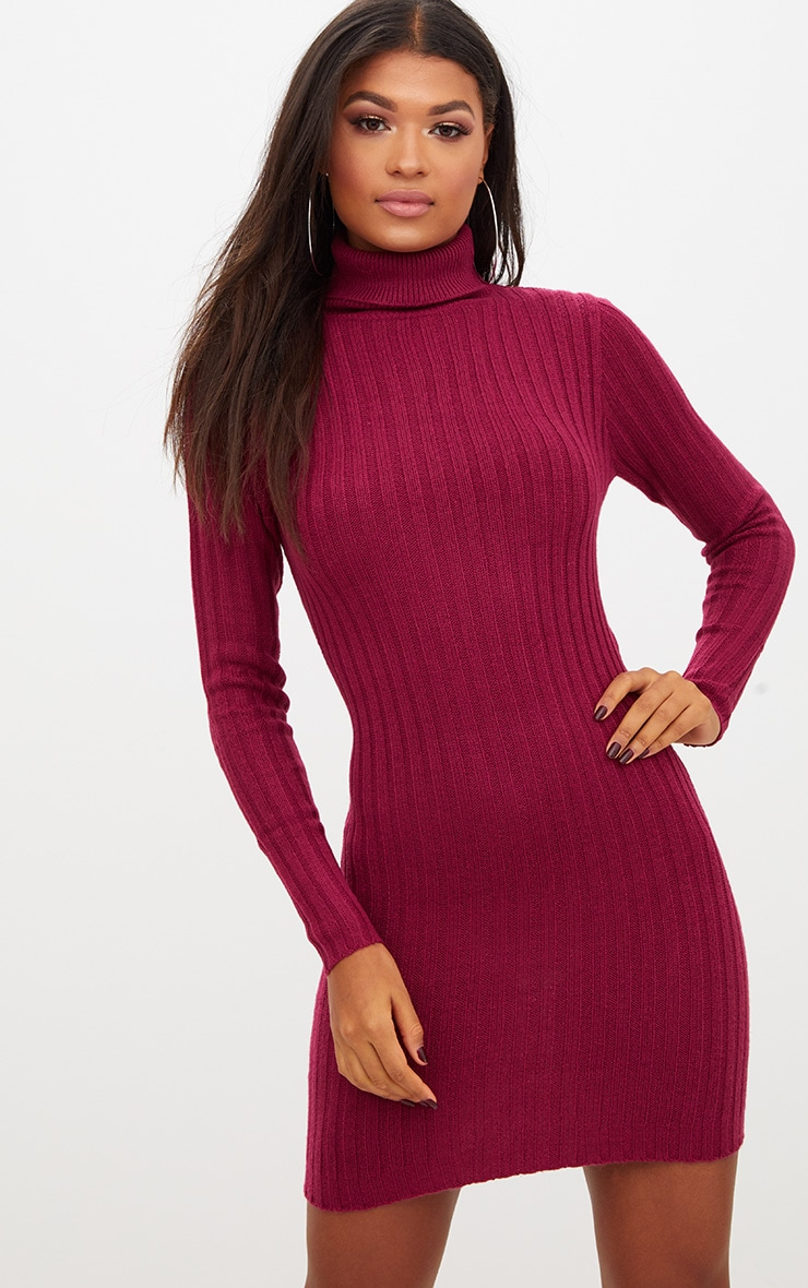 Burgundy Rib Roll Neck Dress 1