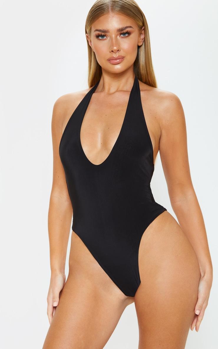 Black Slinky Halterneck Bodysuit 2
