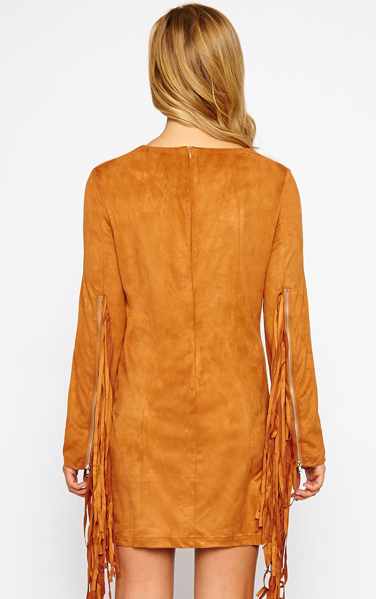 Nexie Tan Suede Fringe Mini Dress 2