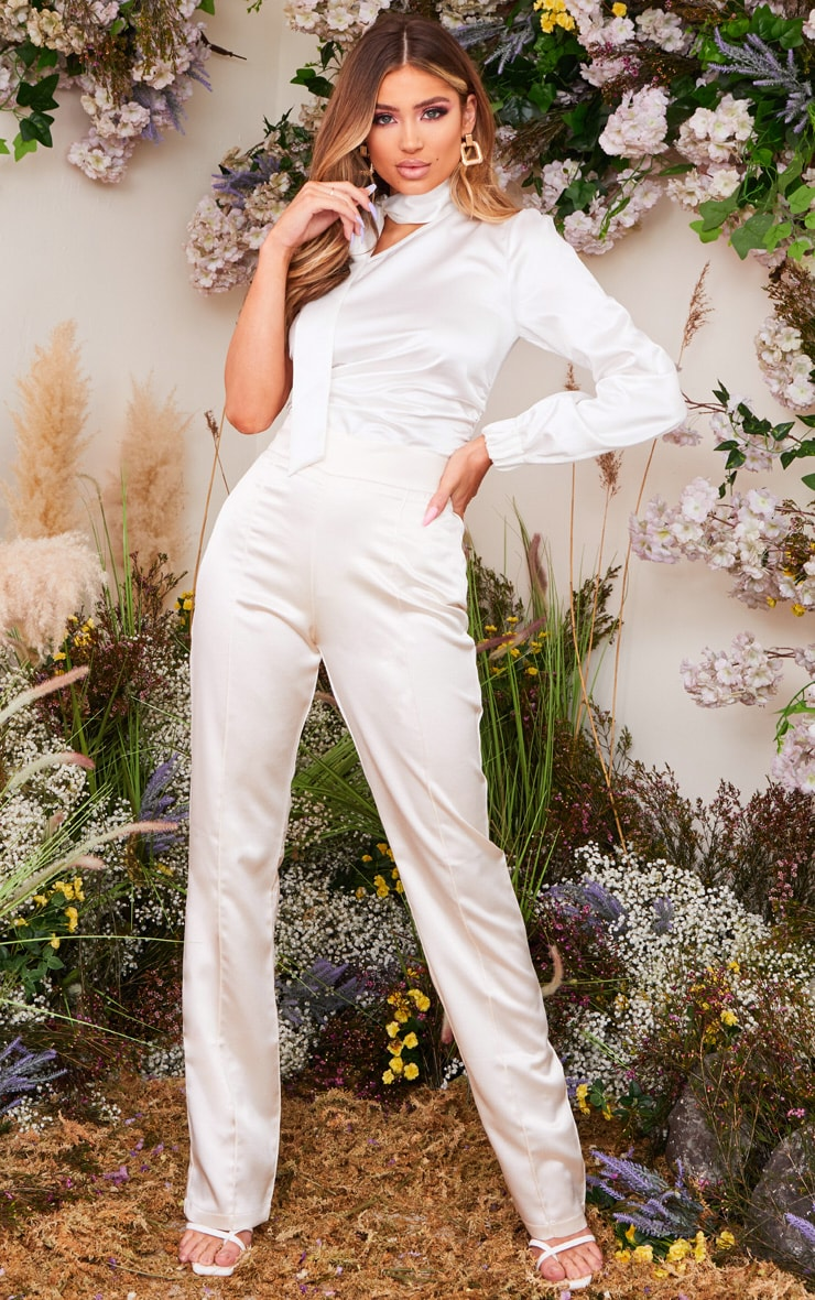 Cream Satin Straight Leg Trousers