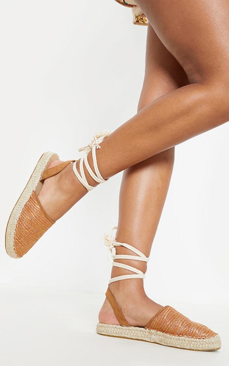 Tan Lace Up Espadrille Flat Sandal  1