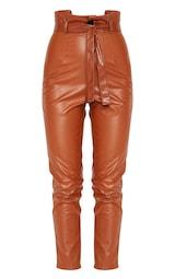 50a6edf1b Chocolate Faux Leather Tie Waist Cigarette Trouser image 3