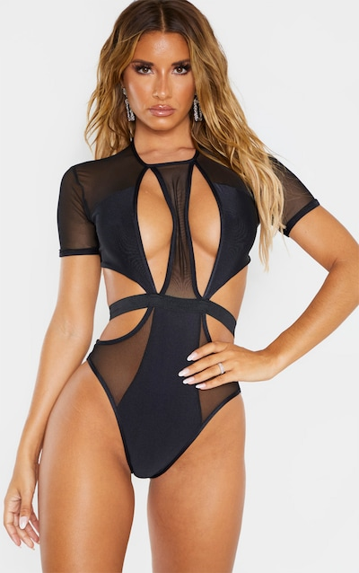 Black Mesh Short Sleeve Cut Out Swimsuit