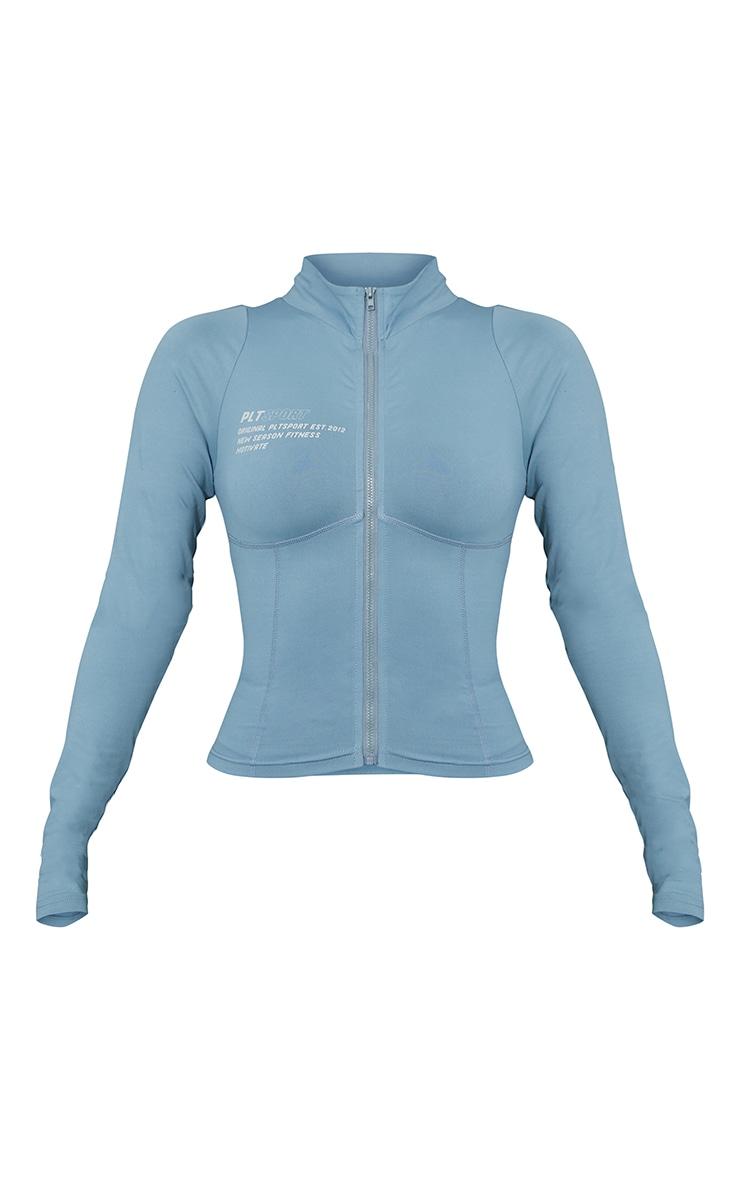 Steel Blue Zip Up Stitch Detail Gym Jacket 5