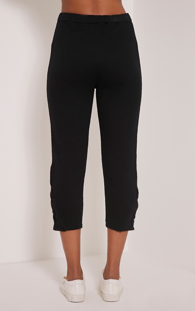 Pia Black Lace Up Side Cropped Joggers 5