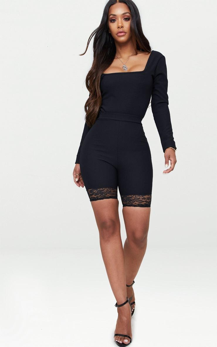 Shape Black Ribbed Square Neck Bodysuit 5