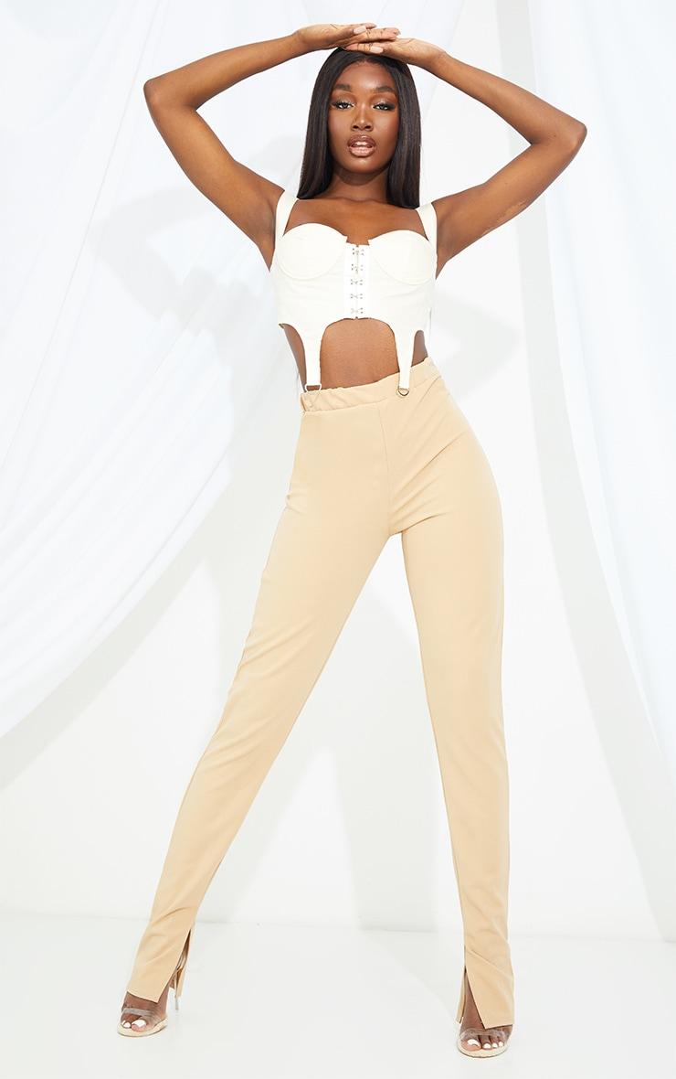 Tall Stone Back Seam Split Hem Crepe Trouser 1