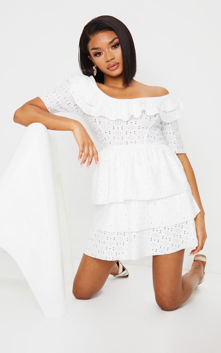 Petite Cream Frill Mini Dress 1