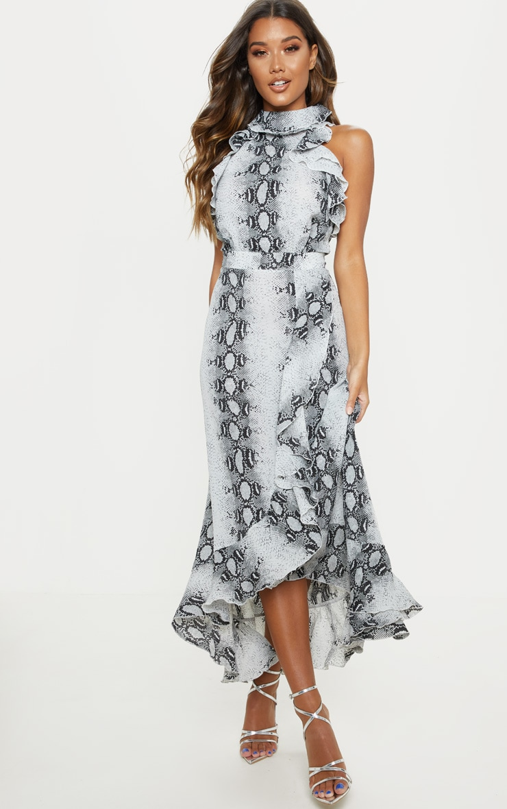 Grey Snake Print Frill Detail Wrap Maxi Dress 1