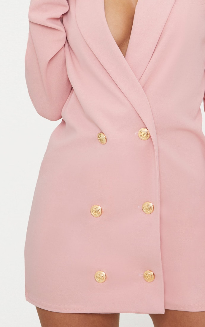 Petite Dusky Pink Gold Button Blazer Dress 5