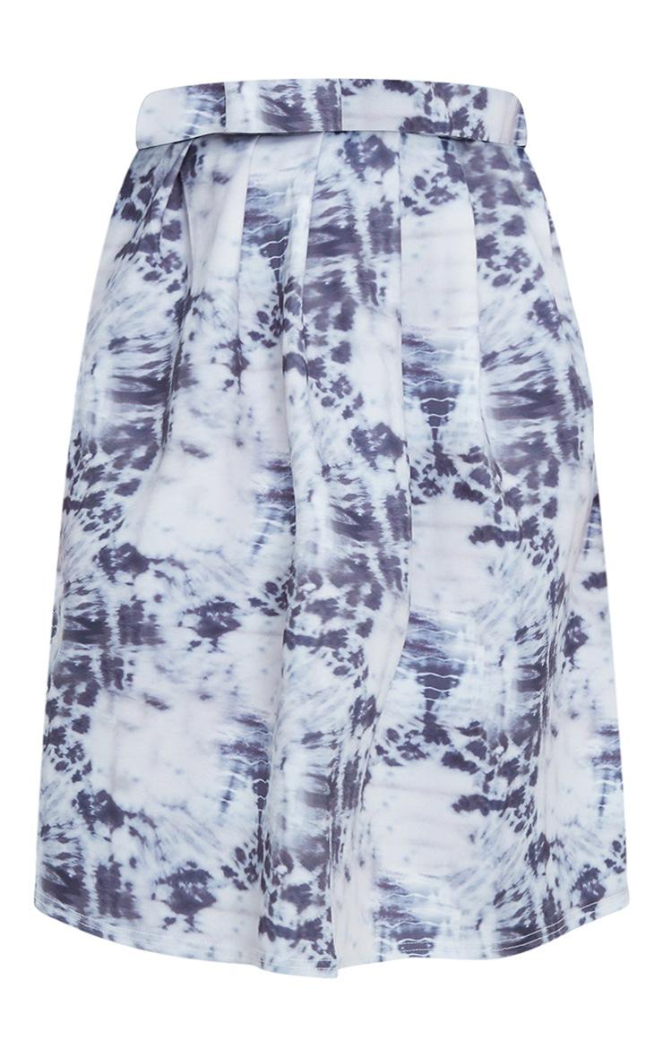 Blue Tie Dye Print Pleated Midi Skirt 5