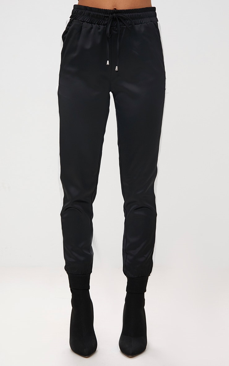 Black Sport Stripe Jogger  2