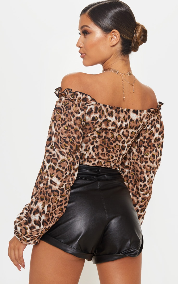 Tan Leopard Woven Cup Detail Long Sleeve Crop Top 2