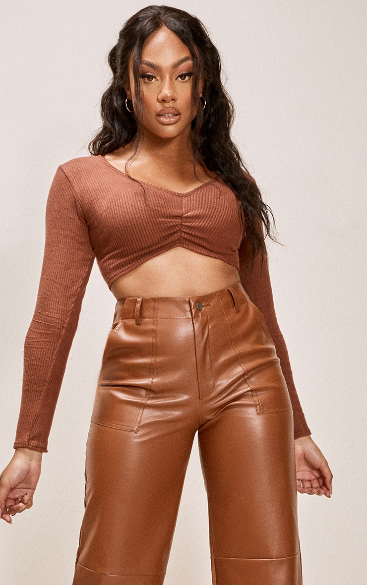 Chocolate Brushed Rib Ruched Front Long Sleeve Crop Top