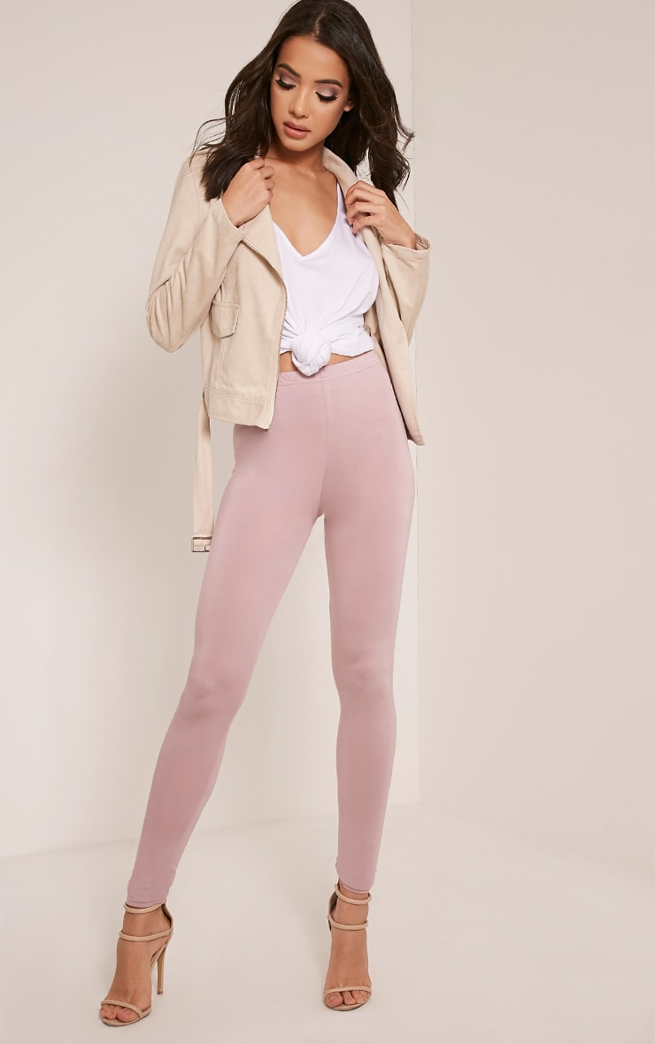 Basic Mauve Jersey Leggings 1