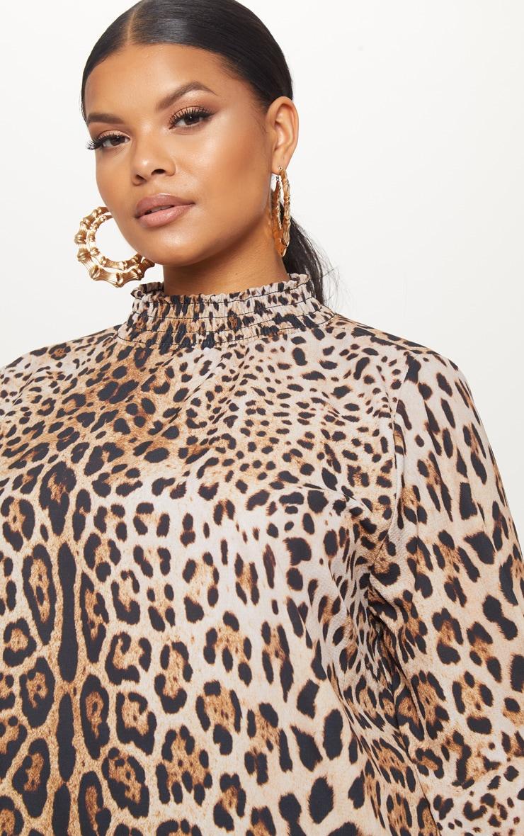 Plus Tan Shirred Neck Leopard Print Blouse 5