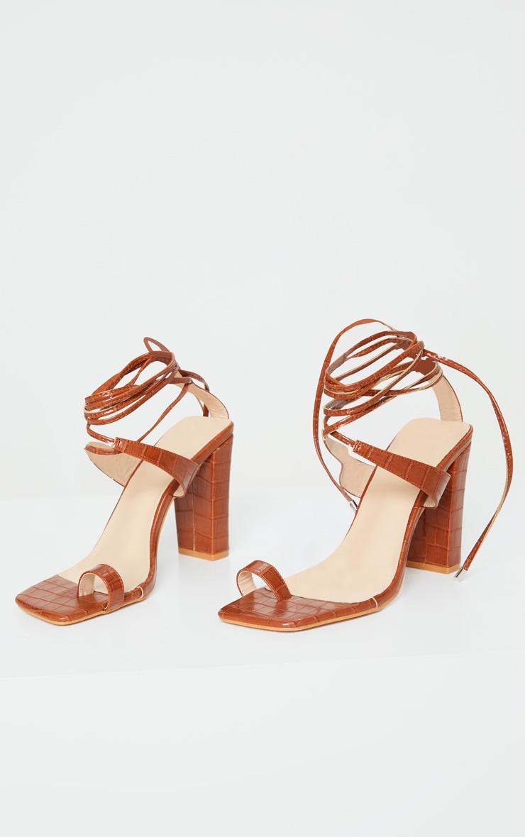 Brown Croc Toe Loop Block Heel Ankle Tie Heeled Sandal 3