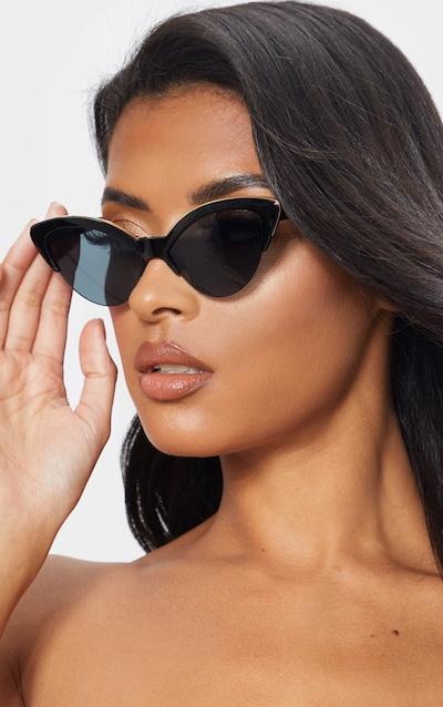 faf3e6bb54c32 Black Frame Gold Metal Edge Pointed Cat Eye Sunglasses
